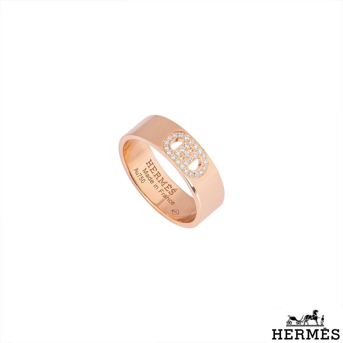 Hermès Rose Gold Diamond H D Ancre Ring